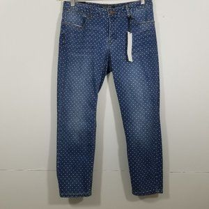 NWT MD Rise Corp Polka Dots Stretch Jeans Size 10